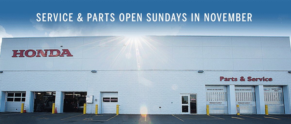 Service and Parts Open Sundays in November