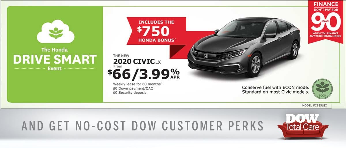 Save on 2020 Civic at Dow Honda
