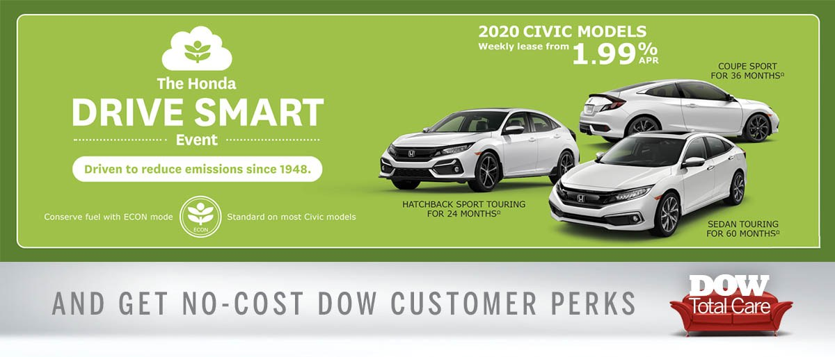 Great Rates on 2020 Civics at Dow Honda