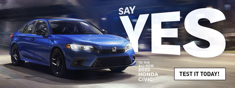 The New 2022 Honda Civic is at Dow Honda
