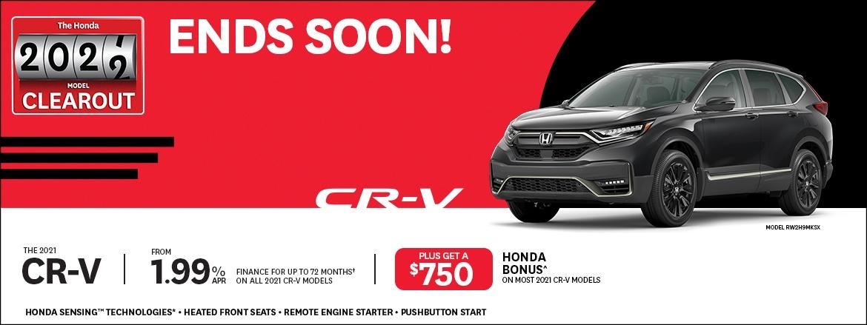 Save on remaining 2021 CR-Vs at Dow Honda